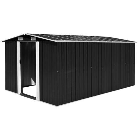 Caseta de jardin de metal antracita 257x398x178 cm(no se puede enviar a Baleares)