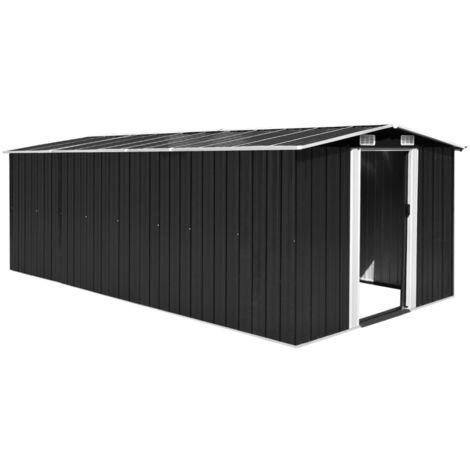 Caseta de jardin de metal antracita 257x497x178 cm
