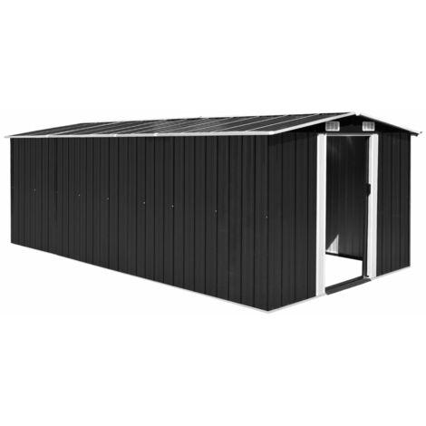 Caseta de jardín de metal antracita 257x497x178 cm - Negro