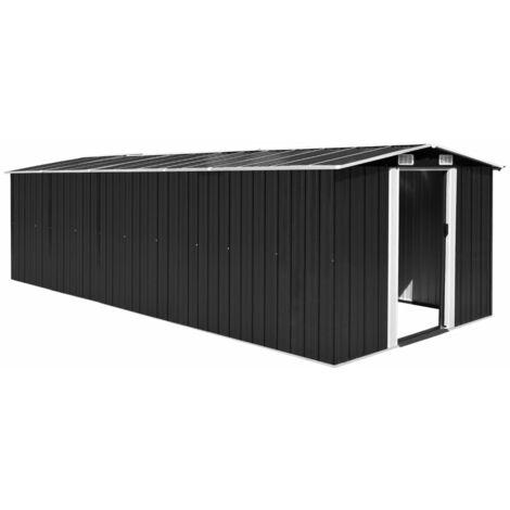 Caseta de jardín de metal antracita 257x597x178 cm