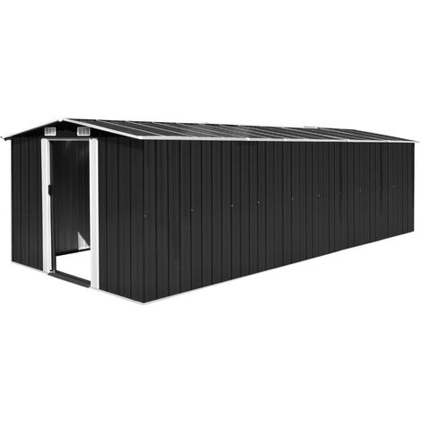 Caseta de jardin de metal antracita 257x597x178 cm