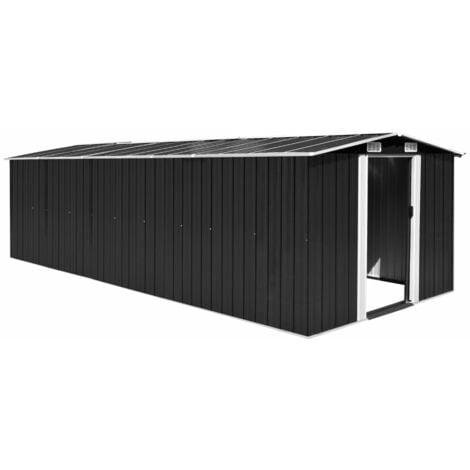 Caseta de jardín de metal antracita 257x597x178 cm - Negro