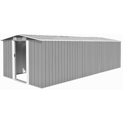 Caseta de jardin de metal gris 257x597x178 cm