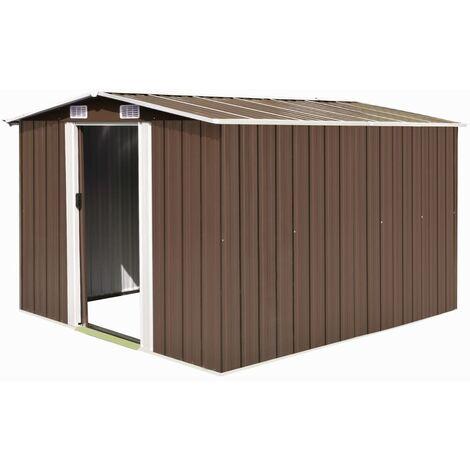 Caseta de jardín de metal marrón 257x298x178 cm