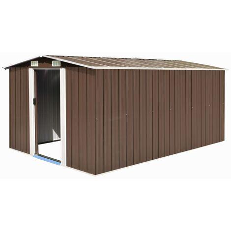Caseta de jardín de metal marrón 257x398x178 cm