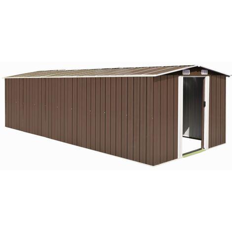 Caseta de jardín de metal marrón 257x597x178 cm