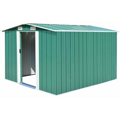 Caseta de jardín de metal verde 257x298x178 cm