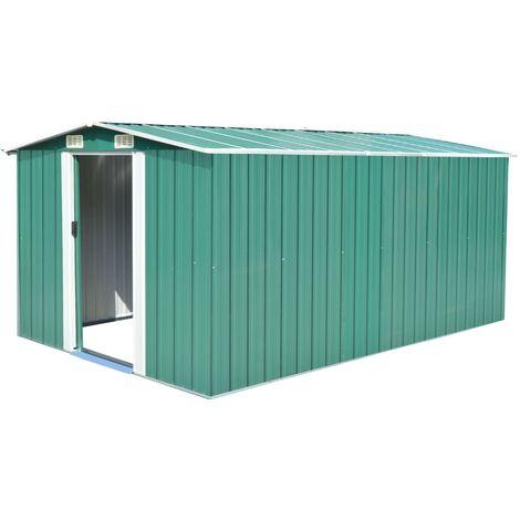 Caseta de jardín de metal verde 257x398x178 cm