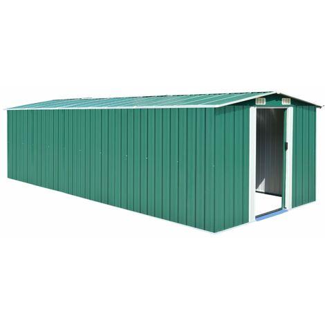Caseta de jardín de metal verde 257x597x178 cm