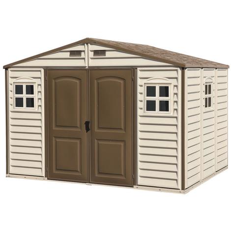 Caseta de jardín de PVC: 247 x 324 x 321 cm. Superficie 8,02m². Duramax