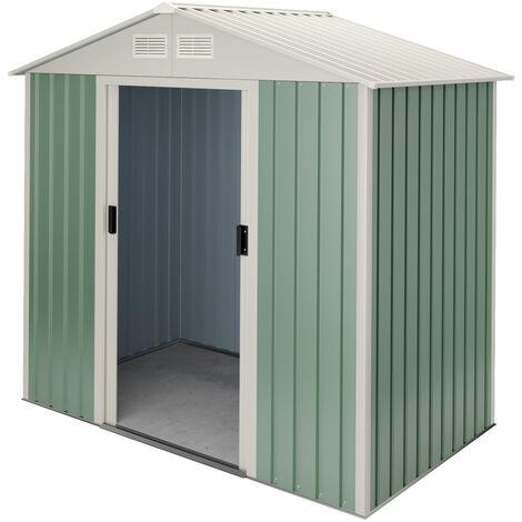 Caseta de jardín metálica verde/beige - 10 años de garantía