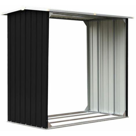 Caseta de jardín para leña acero galvanizado gris 172x91x154 cm