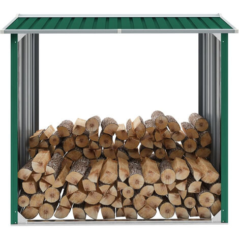 Caseta de jardin para lena acero galvanizado verde 172x91x154cm