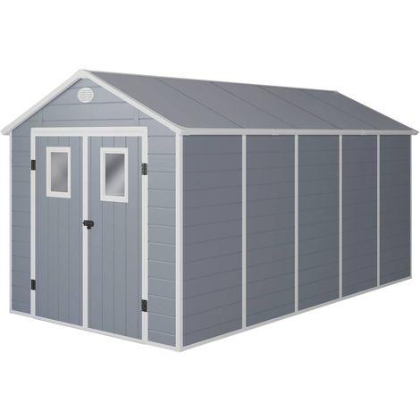 Caseta de jardín Texas - 10.99 m² - 456 x 242 x 239 cm - Gris