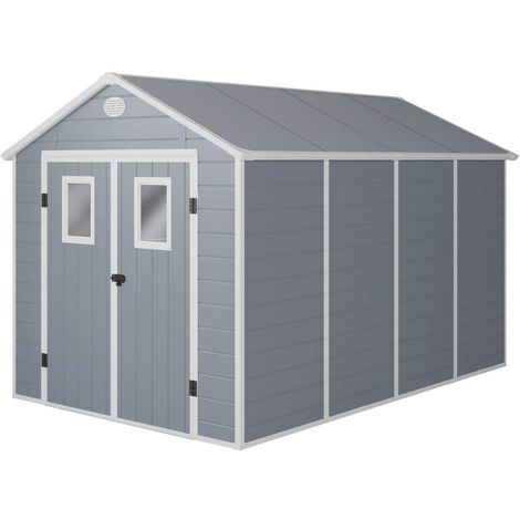 Caseta de jardín Texas - 8.82 m² - 368 x 242 x 239 cm - Gris