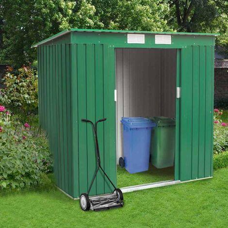 Caseta de lámina galvanizada verde jardín herramientas MEDIUM 194x121 cm