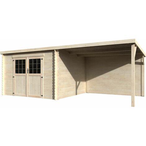 Caseta de madera con porche confort Eden Decor et Jardín 28mm