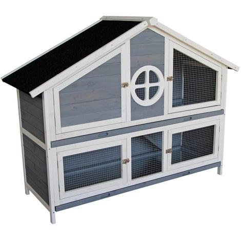 Caseta de madera para conejos Conejera Casita conejos Corral Jaula Accesorios mascotas Animales Azul
