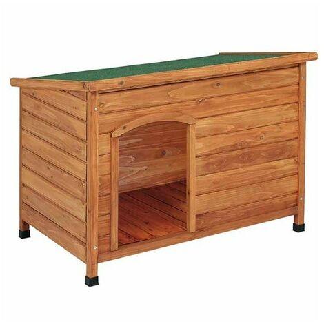 Caseta de perro de madera con techo plano