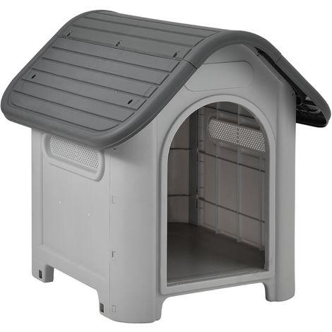 Caseta de plástico para perros- gris / negro - PVC - 75 x 59 x 66 cm