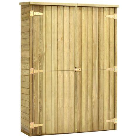Caseta herramientas jardín madera pino impregnada 123x50x171 cm