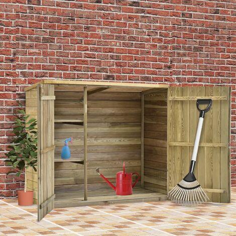 Caseta herramientas jardin madera pino impregnada 135x60x123 cm