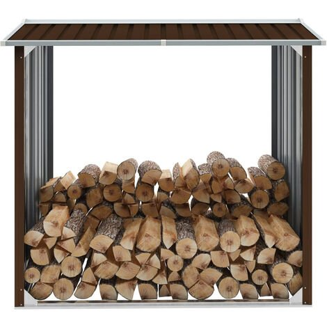 Caseta jardin para lena acero galvanizado marron 172x91x154 cm