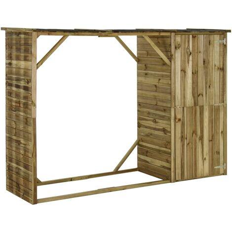 Caseta leña y herramientas jardín madera pino 253x80x170 cm