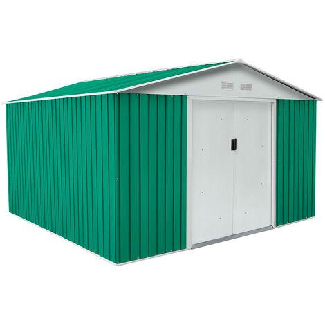 Caseta Metálica Bedford Verde/Blanco 11,59 m² Exterior - KIS12130 - GARDIUN