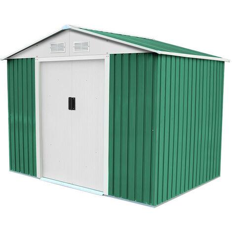 Caseta Metálica Gardiun Cambridge 4,72 m² Exterior 181x261x198 cm Acero Galvanizado Verde - KIS12767