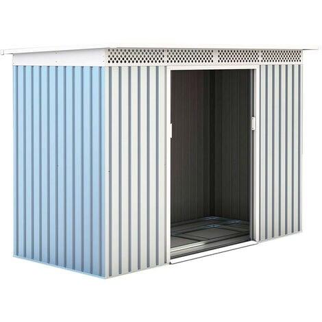 Caseta Metálica Gardiun Rutland 3,93 m² Exterior 142x277x184 cm Acero Galvanizado Silver/Blanco - KIS12135