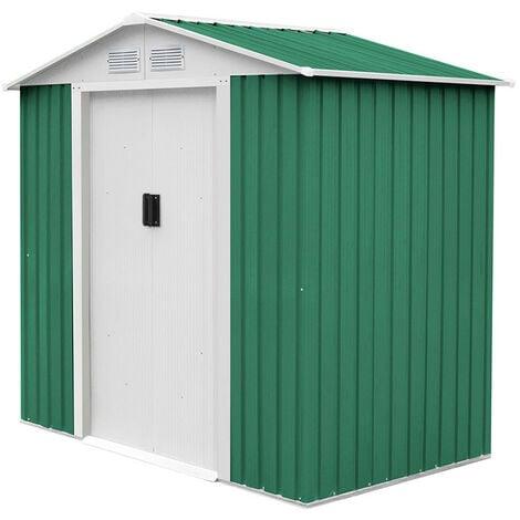 Caseta Metálica Gardiun Yorkshire 2,43 m² Exterior 121x201x190 cm Acero Galvanizado Verde - KIS12140