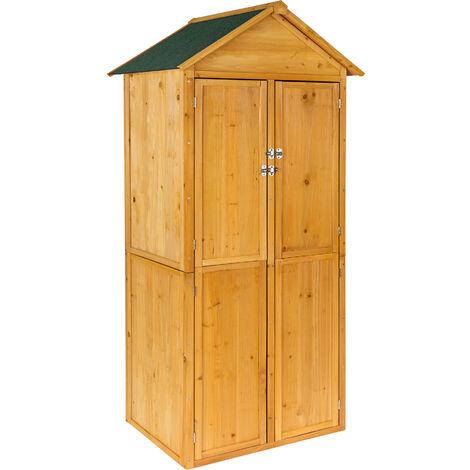 Caseta para herramientas jardín - mueble de terraza de madera, armario exterior para trabajos de jardinería, cobertizo amplio para patio - marrón