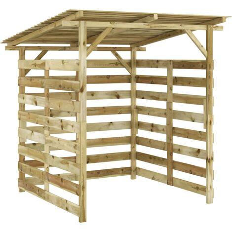Caseta para leña de madera de pino impregnada