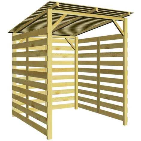 Caseta para lena de madera de pino impregnada FSC
