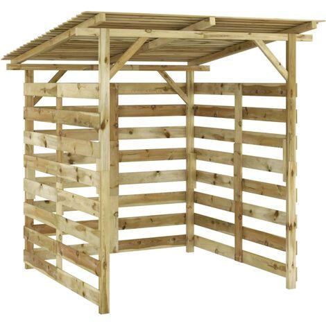 Caseta para leña de madera de pino impregnada - Marrón
