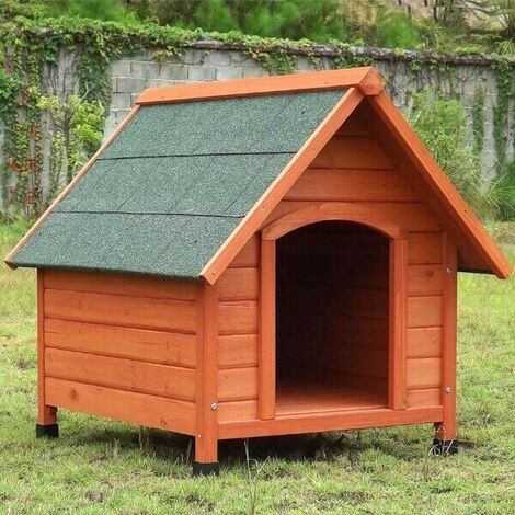 Caseta para perros madera maciza de pino 96 x 112 × 105 cm