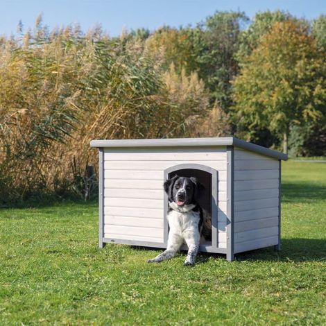 Caseta para perros madera maciza de pino B 116 x T 79 x H 82 cm
