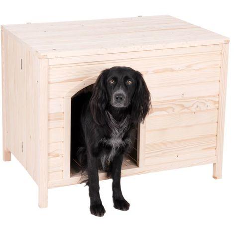 Caseta para perros madera maciza de pino B 90 x T 60 x H 68 cm