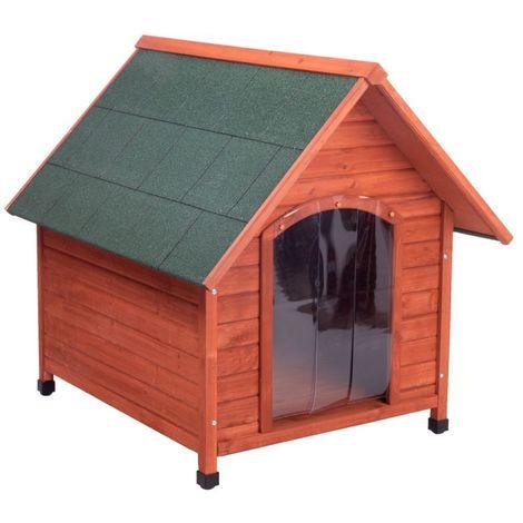 Caseta para perros madera maciza de pino B 96 x T 112 x H 105 cm