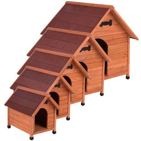 Caseta para perros madera maciza de pino B 97 x T 115 x H 109 cm