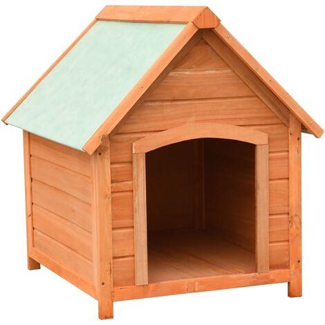 Caseta para perros madera maciza de pino y abeto 72x85x82 cm