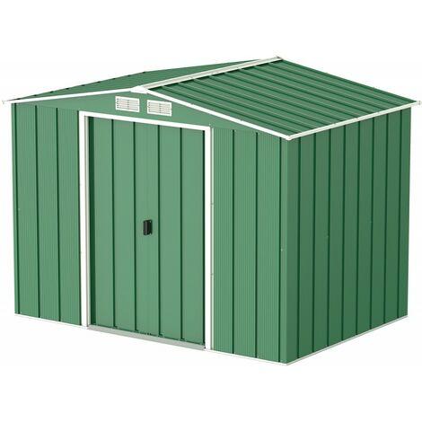 Casetas de Metal ECO 8X6 color verde, ideal para su jardin. Medidas 1.822 x 2.620 x 1.910 mm. Superficie 4,77 m2 de Duramax.