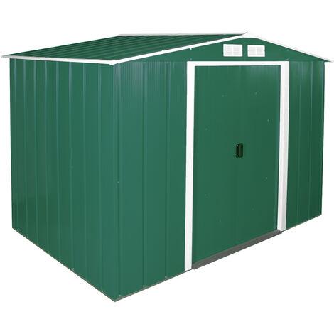 Casetas de Metal ECO 8X6 color verde, ideal para su jardin. Medidas 1.822x 2.620 x 1.910 mm. Superficie 4,77 m2 de Duramax.