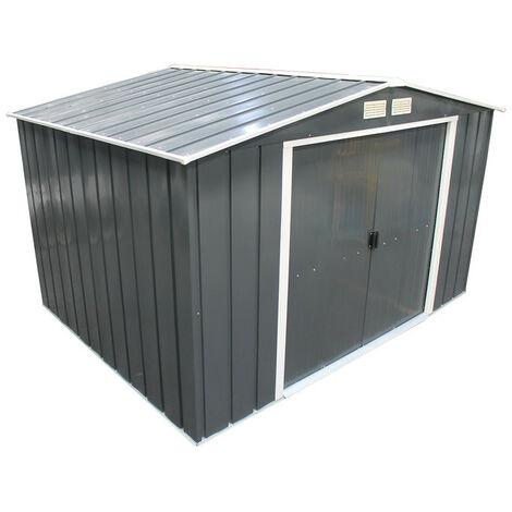 Casetas de Metal Eco Gandia 10X8 gris Antracita. ideal para el jardin. Medidas 2.423 x 3.221 x 1.961 mm. Superficie 7,80 m2 de Duramax.