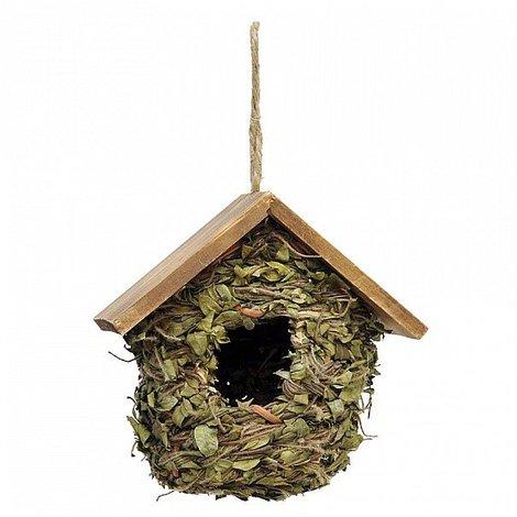 Casetta Appendibile Con Foglie E Tetto In Legno Per Uccelli