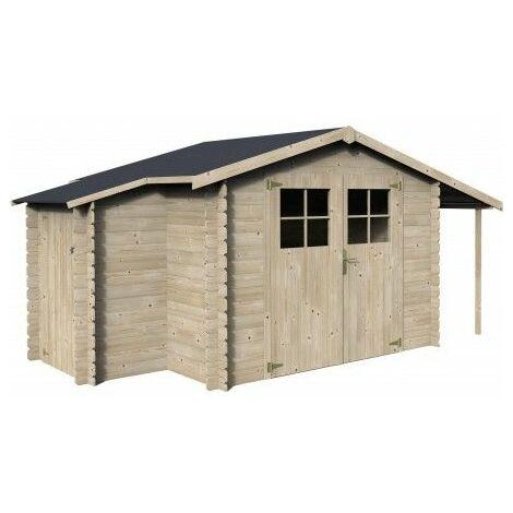 Casetta + armadio + legnaia in legno modello Talcy, 19 mm di spessore, 270x230 cm, 10,23m²