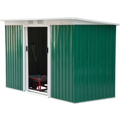 Casetta Box Da Giardino In Lamiera Verde 277x130x173 Cm Miozzi