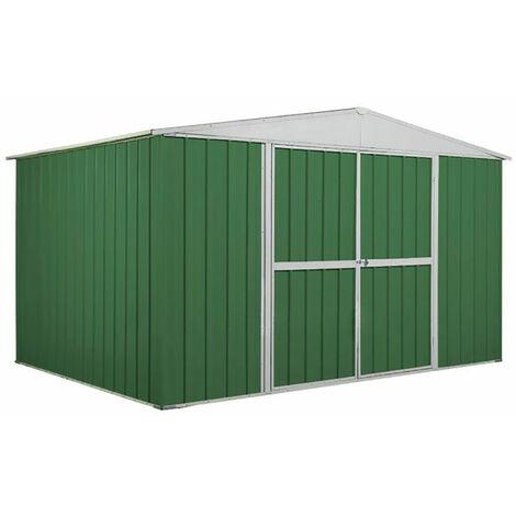 Casetta Box Da Giardino In Lamiera Verde Per Deposito Attrezzi 360x260x212cm Enaudi