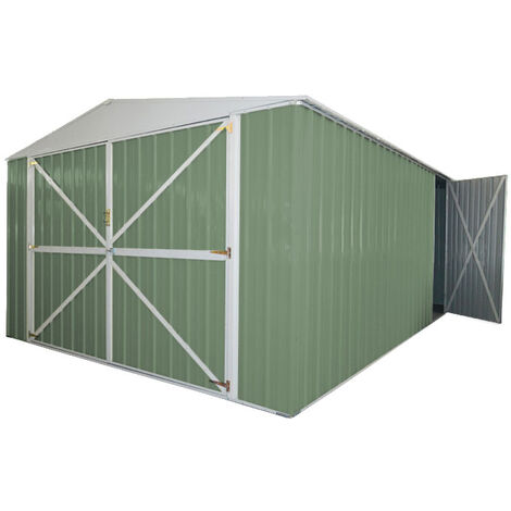 Casetta garage giardino Box in Acciaio Zincato 360x514cm x h2.30m - 320KG - 18mq - VERDE
